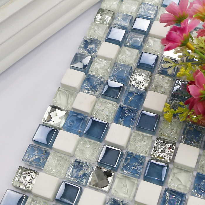 square blue mixed white glass mosaic tiles mixed stone and metal