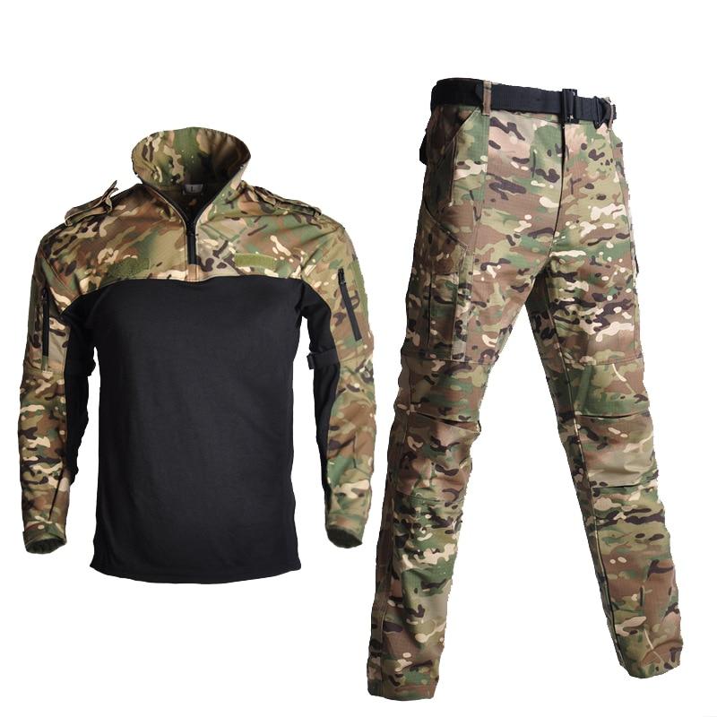 Coton militaire uniforme chemise hommes armée pantalon en plein air Airsoft Paintball tactique chemises Ghillie costume Camouflage chasse vêtements