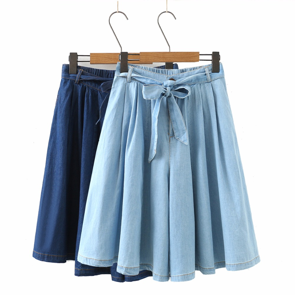 Summer High Waist Soft Denim Shorts Women Loose Vintage Casual Shorts Elastic Waist A-Line Blue Wide Leg Jeans Shorts Skirts