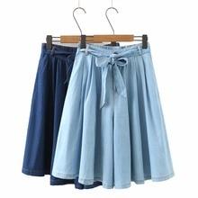Summer High Waist Soft Denim Shorts Women Loose Vintage Casual Shorts Elastic Waist A Line Blue Wide Leg Jeans Shorts Skirts
