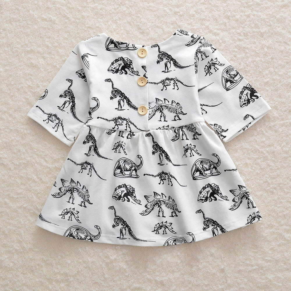 Toddler Kids Infant Baby Girls Dress Dinosaur Printed Sun Dress Clothes Outfits