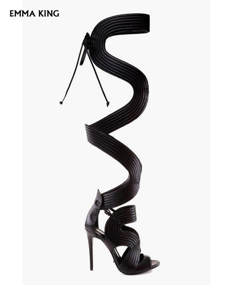 À D'été Talons Black Creux Stiletto Mujer2019 the Taille Over Nouveau Grande Talon Femme Botas Out Mode genou Femmes Chaussures La Sandales Dames OqSwY