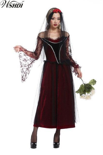 3595e5d415f Sexy rouge dentelle manoir Zombie mariage fantôme mariée Costume Halloween  Cosplay Vampire fantôme mariée robe de