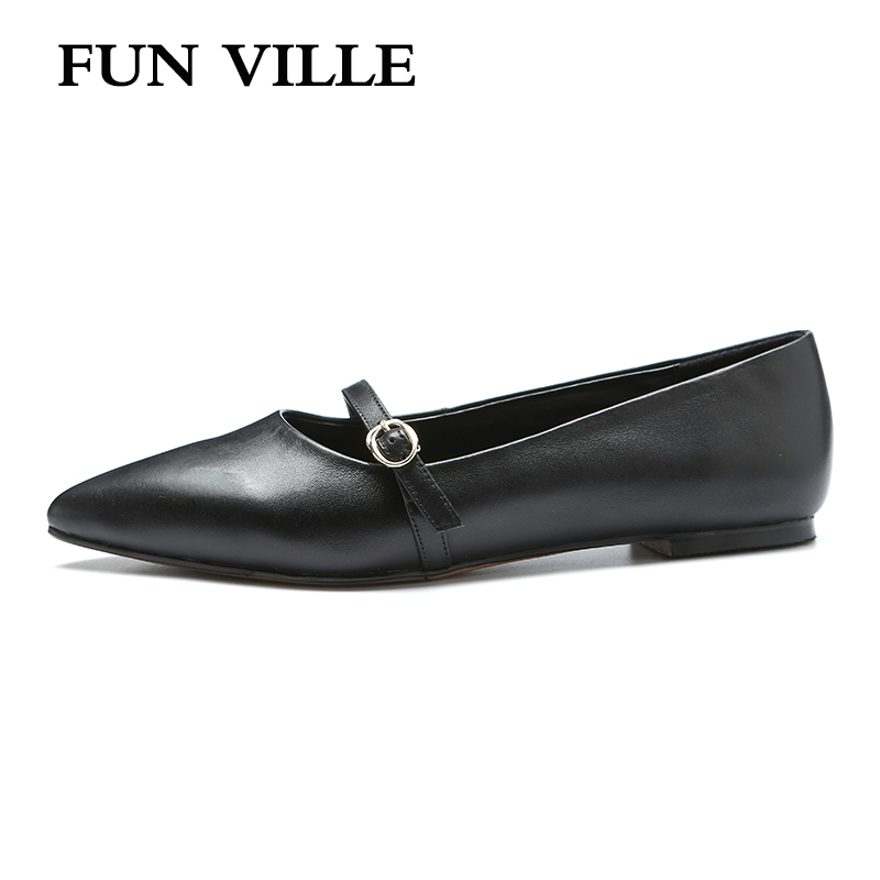 FUN VILLE Summer women Flats shoes Genuine leather casual shoes Flat with  Dress shoes Pointed toe sexy Ladies Shoes slip on 90fcf04b94b3