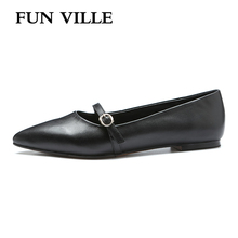 купить FUN VILLE Summer women Flats shoes Genuine leather casual shoes Flat with Dress shoes Pointed toe sexy Ladies Shoes slip on дешево