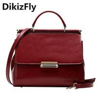 DikizFly New Genuine Leather totes bags women Hand bag Fashion Messenger Ladies Crossbody Luxury Female Handbags Women bags 2018
