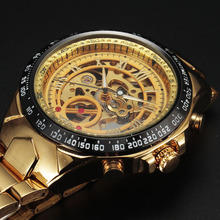Winner Watches Men Sport Watch Mens Skeleton Watch Automatic Mechanical Army Wrist Watch Golden Wristwatch relogio masculino