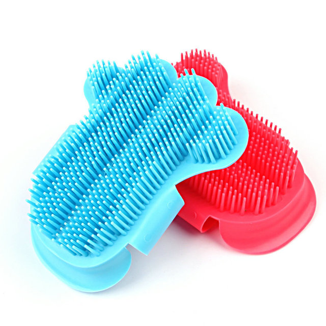 1PC GOUGU Cat Dog Soft Rubber Massage Gloves Pet Cleaning Bath Removal Brush Comb Shampoo Grooming Tools 3