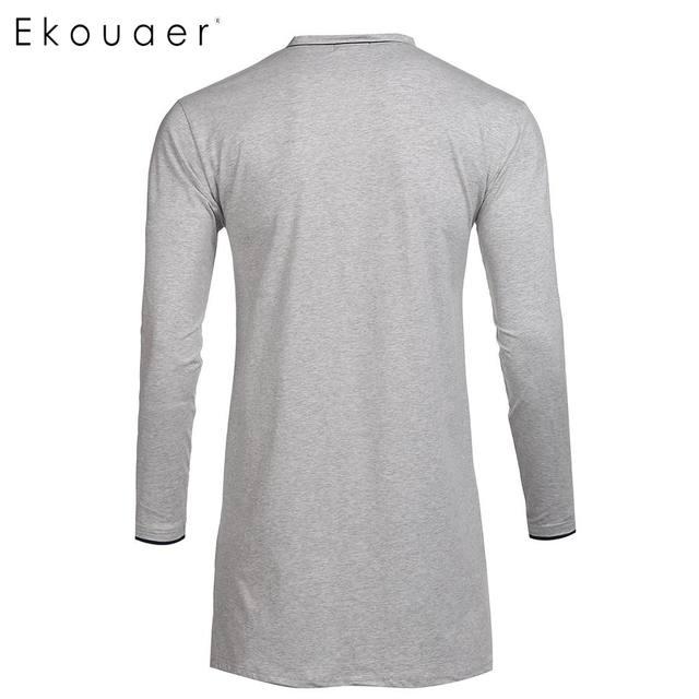 Ekouaer Men Casual Sleepwear Cotton Pajama Top V-Neck Long Sleeve Split Pocket Loose Fit Sleepshirt Nightshirts Homewear
