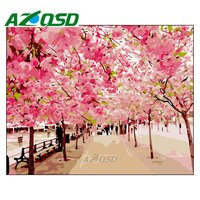 AZQSD Painting By Numbers Cherry Blossom Road DIY Frameless 40x50cm Digital Oil Painting By Numbers On