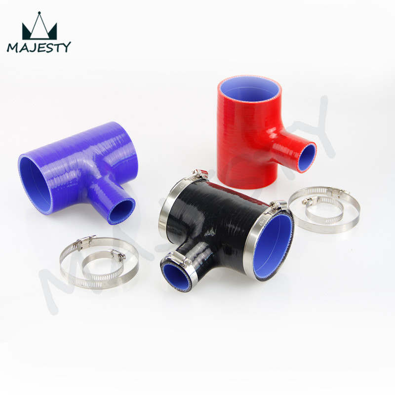 2.75 - 2.75 T Piece Silicone Hose (70mm to 70mm) + 'T' Shape Tube Pipe for 35mm ID BOV 3+Clamps black