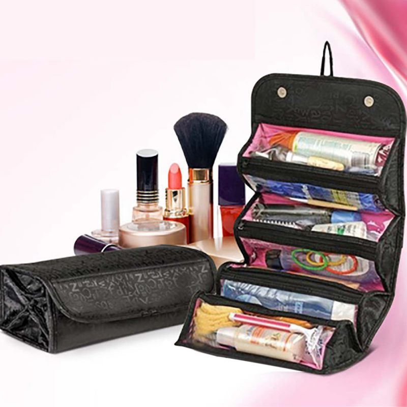 Cosmetic Storage Bags Case Roll-up Cosmetic Make Up Case Organizer Pouch Toiletry Zip Jewelry Wash Bag