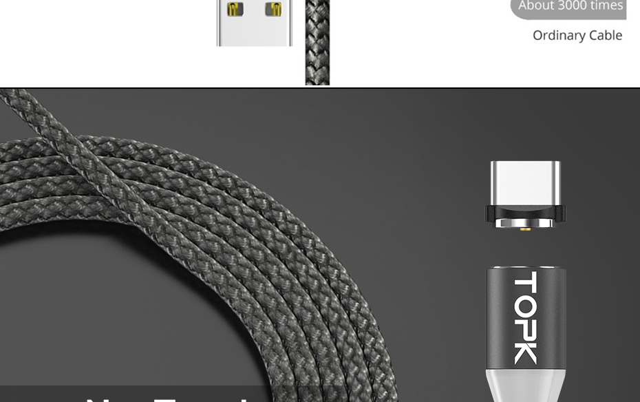 TOPK AM17 1M LED Magnetic Micro Type C USB Cable For Mobile Phones 13