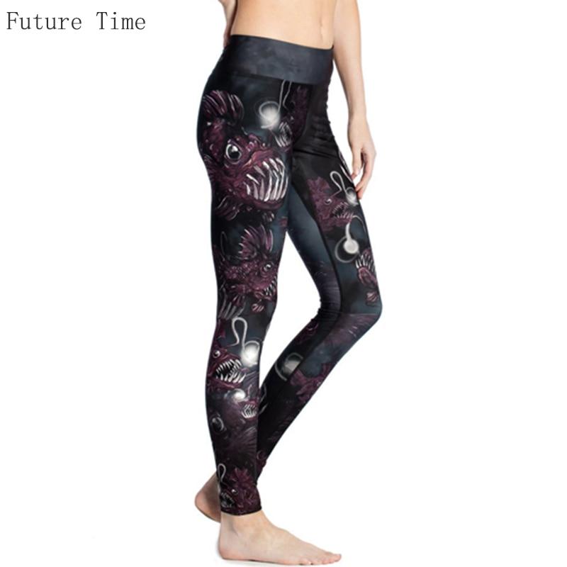 Cool Individual Punk Leggings Cartoon Scared Fish Print Leggings 2017 Fashion High Waist Leggings Breathable Stretch Pant L0014