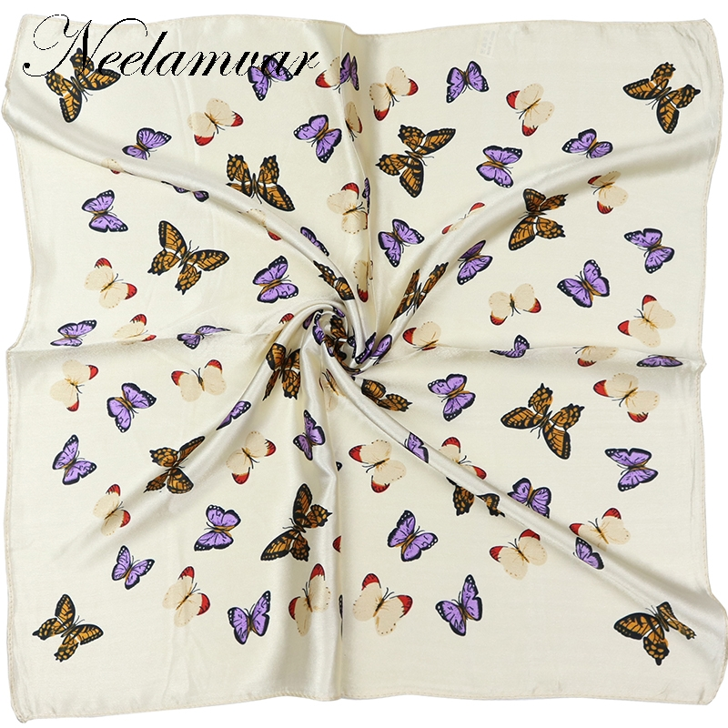 Elegent Women 60*60cm Square Silk Scarf Butterfly Printed  Spring And Autumn Beige Polyester Silk Scarf  Handkerchief