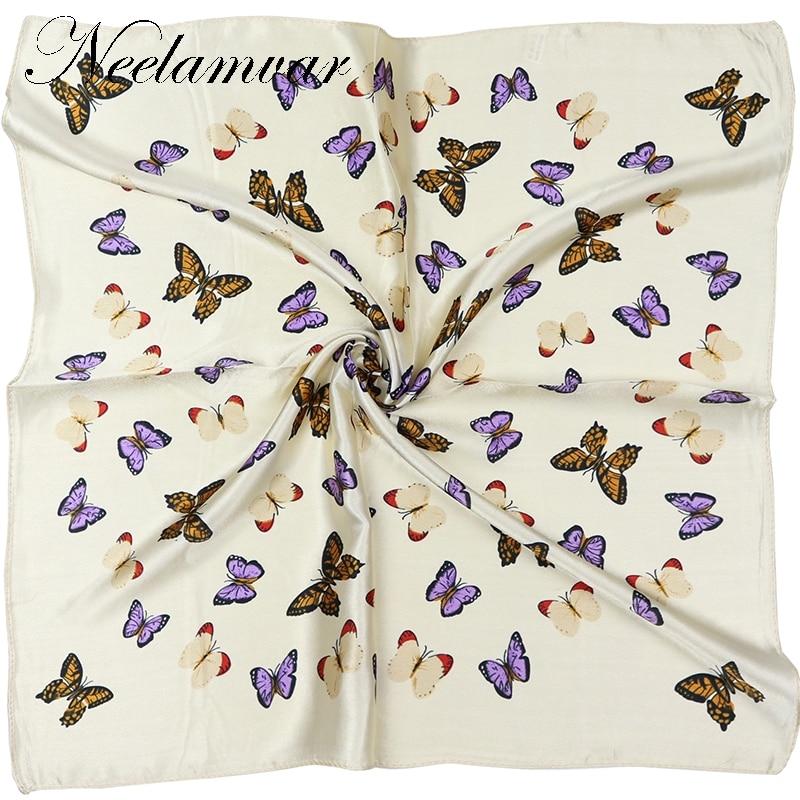 Elegent Women 60*60cm Square Silk Scarf Butterfly Printed  Spring And Autumn Beige Polyester Silk Scarf  Handkerchief