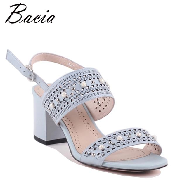 Bacia полые полосы алмаз овчины Сандалии для девочек розового и голубого цвета на высоком каблуке для отдыха летняя обувь качество обувь ручной работы Новый vwb003