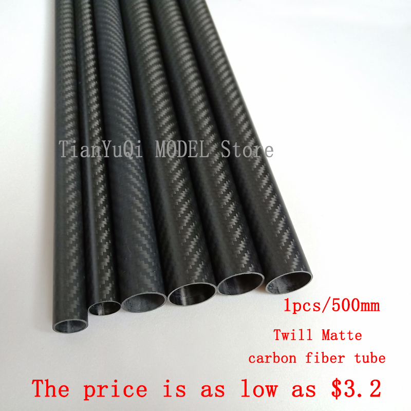 1PCS Length 500 Mm Carbon Fiber Tube High Composite Hardness Material 3K Twill Matte For Plant Protection Aircraft