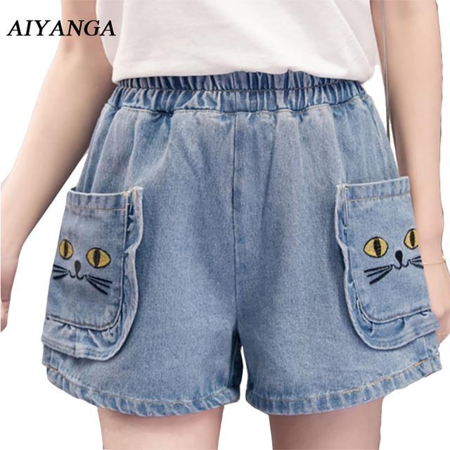 de3a8fad9c855 S-5XL Plus Size Embroidery Cat Denim Shorts For Women 2018 Summer Shorts  Elastic Waist Casual Loose Wide Leg Jeans Female