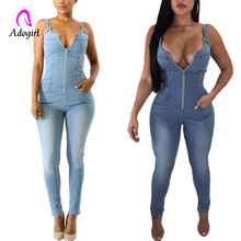 Deep V Denim Jumpsuit Women Long Pants Sleeveless Backless Zipper Pocket Blue Jumpsuits Front Zipper Bandage Skinny Overalls front pocket buttoned denim jumpsuit
