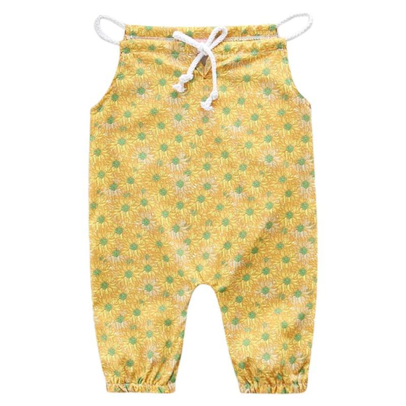 Summer Baby Jumpsuit Kids Baby Romper Floral Print Infant Children Overalls Soft Cute Loose Elastic Suspender Sunsuits Clothes