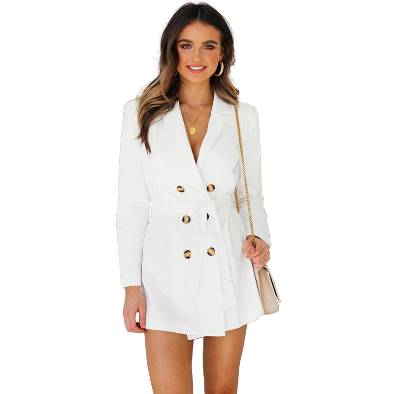 Sexy V-Neck White   Trench   Coats for Women Fashion Bandage Button Long Coats Autumn Winter Casual Coat Windbreakers