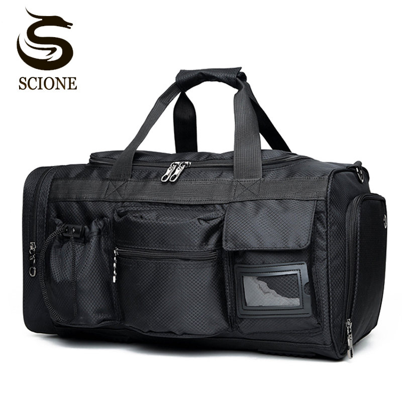 Men Travel Bags Luggage Nylon Duffle Bag Handbag Waterproof Weekend Large Shoulder Solid Black Color Tote