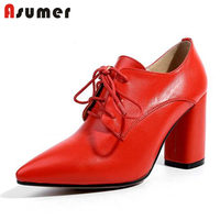 ASUMER SIZE 33 40 2018 NEW fashion genuine leather boot square high heels pumps women s pointed toe lace up shoes