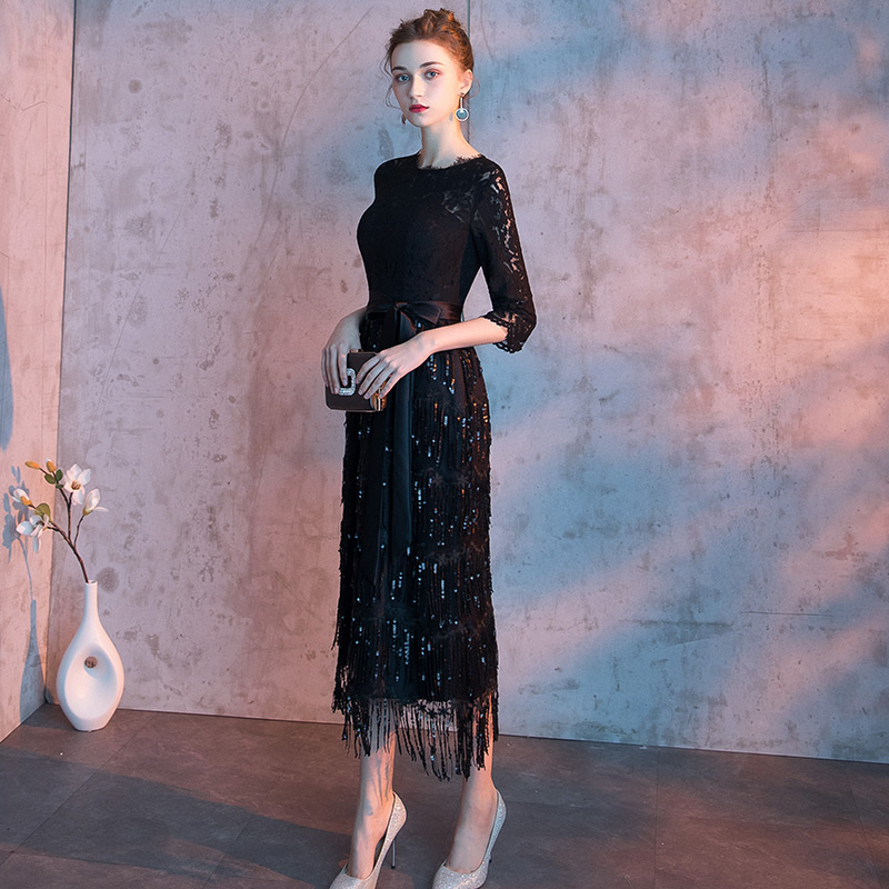 2020 Elegant Evening Dresses Straight Long Half Sleeve Lace Tea Length Cheap Party Dresses Black Evening Gowns LF234