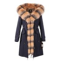 Womens winter long parkas coat jacket fox fur collar detachable rabbit fur liner hooded green blue red silver 18060