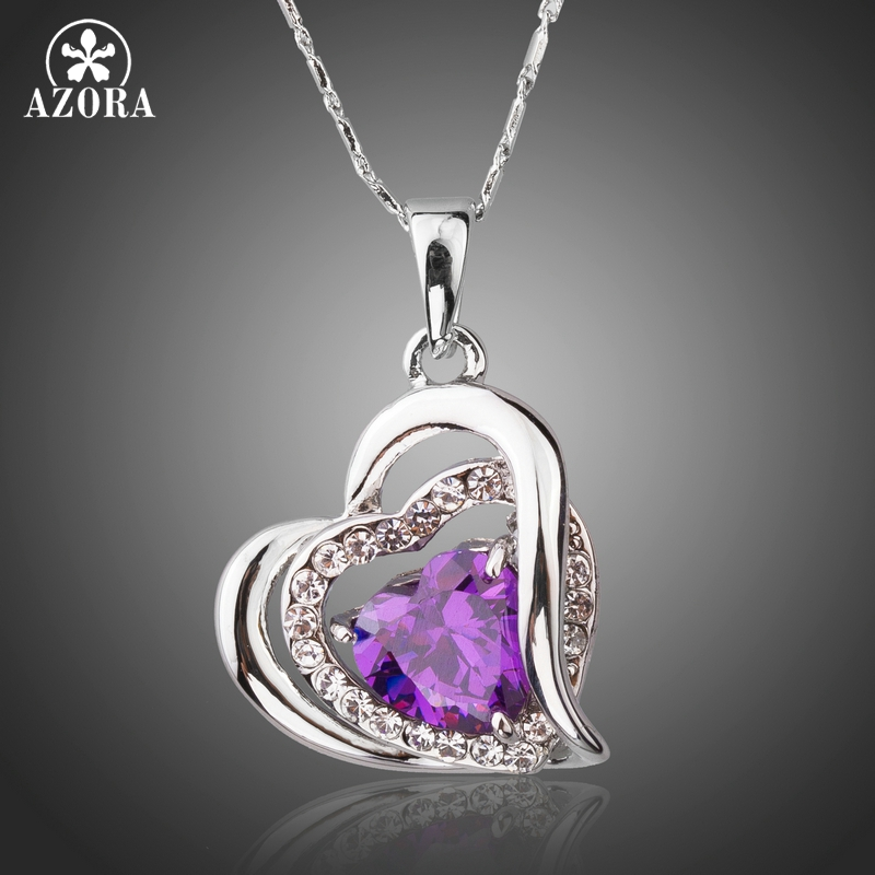 AZORA Forever Love Three Heart sovrapposizione Romantic Purple Cubic Zirconia Pendant Collane per il regalo di San Valentino TN0200