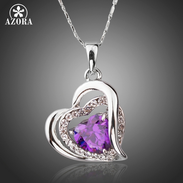 AZORA Forever Love Three Heart Superposition Romantic Purple Cubic Zirconia Pend