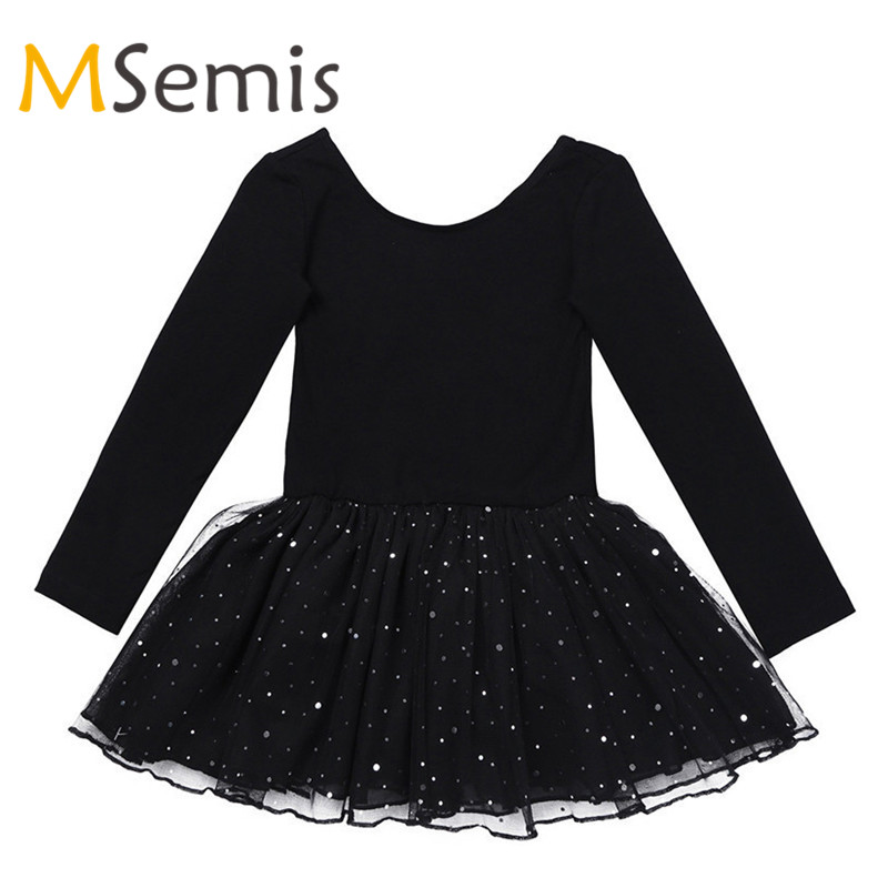 Girls Ballet Dress Gymnastic Swimsuit Gymnastics Leotard For Girls Ballerina Dress Long Sleeves Shiny Mesh Ballet Dance Leotard