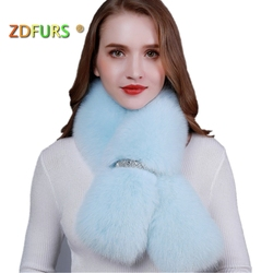 ZDFURS *new winter real fox fur shawl fashion collar long fur scarf female fox fur ring  coat decoration fur collar
