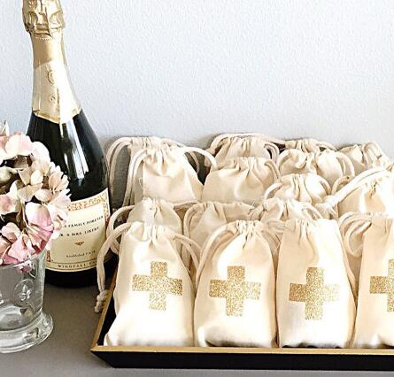 Us 18 02 Off Gold Glitter Cross Wedding Hangover Kit Jewelry Favor Bags Bachelorette Hen Bridal Shower Champagne Party Gift Bag In