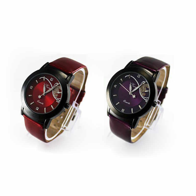 2019 Orologi Delle Donne della Stampa della farfalla Top di Marca di Lusso casual Rosso Rotondo Del Quarzo di fascino In Pelle Reloj Mujer Zegarek Damski