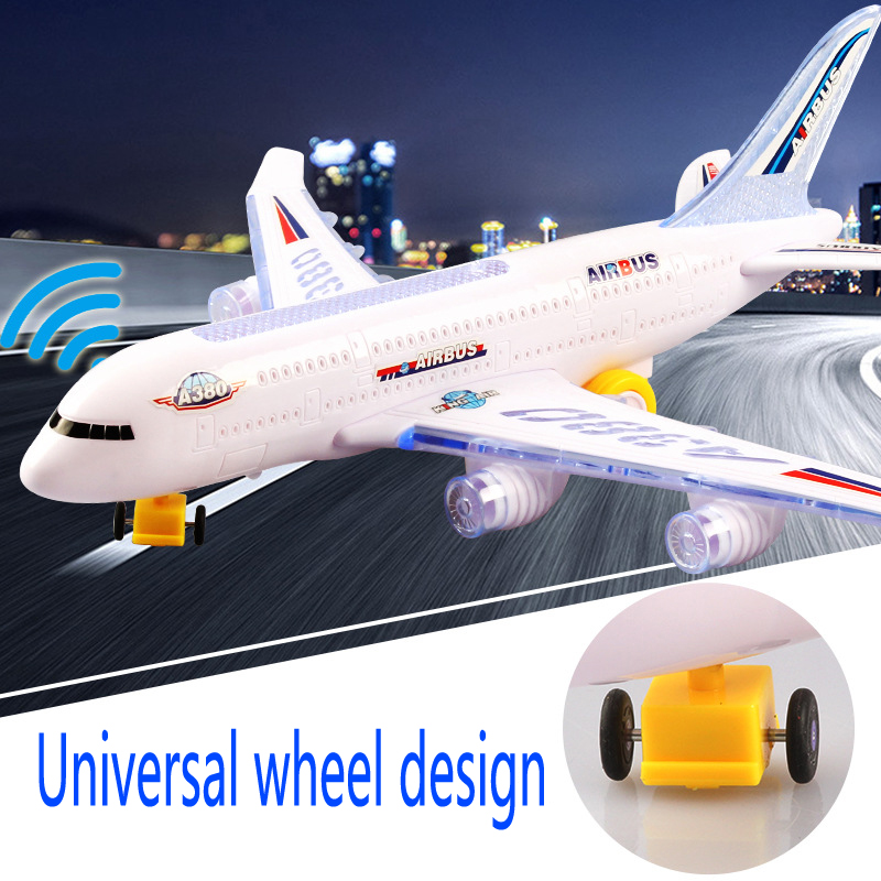 Big 34cm DIY Assembly Airbus Aircraft Autopilot Flash Sound Aircraft Music Lighting Toys Electric Airplane DIY Toy For Children