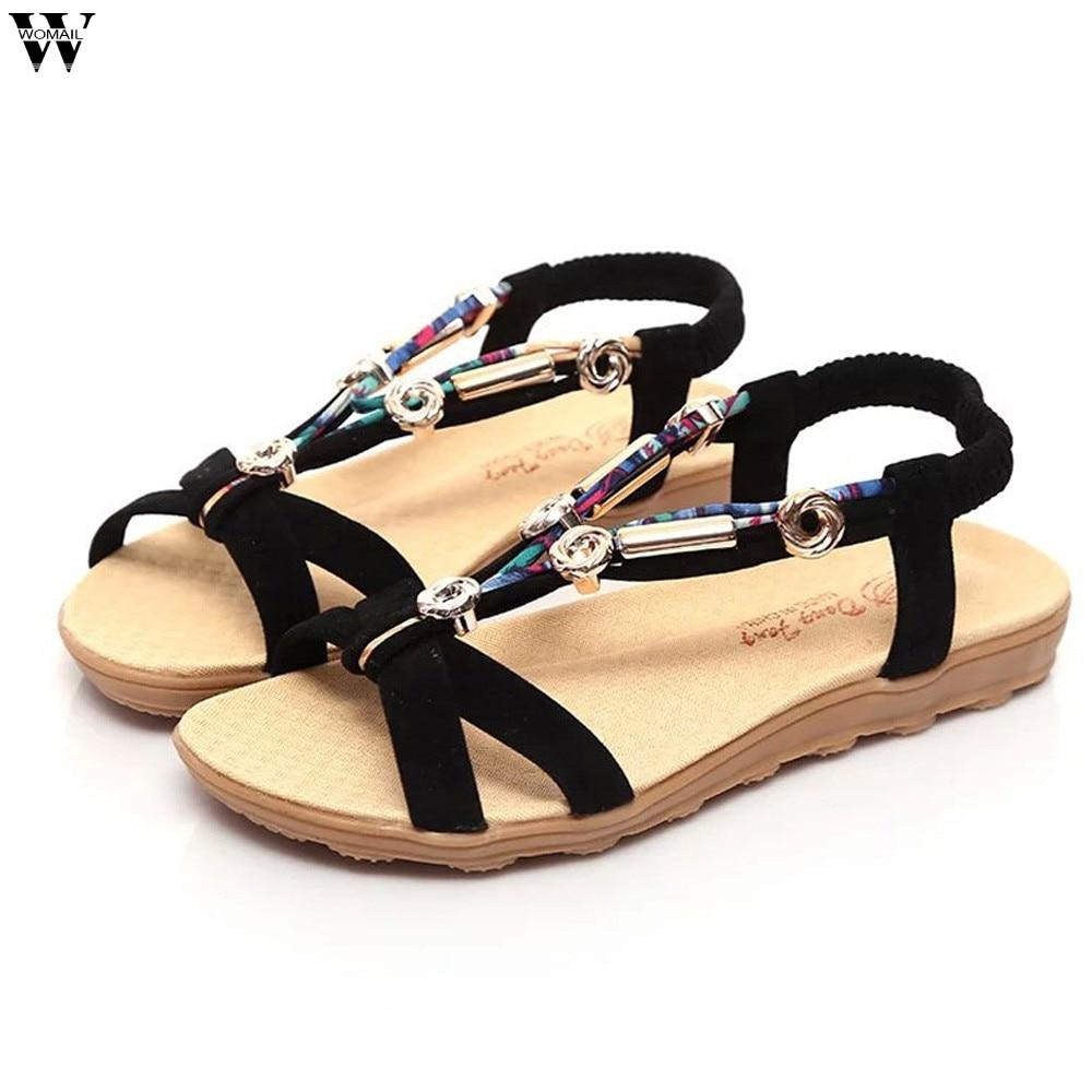 Women Sandals Summer Beach Sandals Flip Flops Bohemian Women Shoes Fashion Beaded Flat Sandals Jan14
