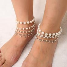 Beach Anklet Fashion Tassels Multi-layer Imitation Pearl Anklet for Women Wild Personality Beach Temperament Anklet stylish coin shape tassels anklet for women