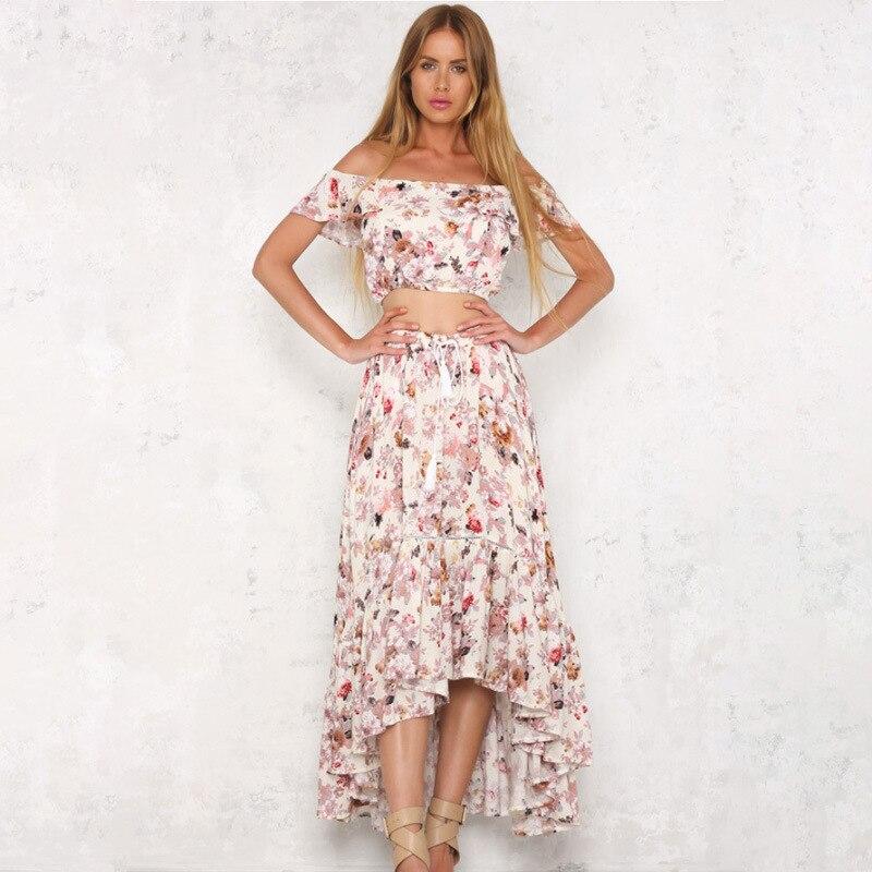 76b67c9854a34 Women Floral Print Two Piece Dresses Summer Slash Neck Short Ruffles Sleeve  Off Shoulder Top Loose Plus Size Long Dress Vestidos-in Dresses from  Women s ...