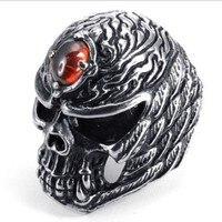 لنا حجم 8 #-13 # أسود خمر فاسق صخرة 316l الفولاذ الصلب الرجال خاتم الجمجمة مع العين الحمراء
