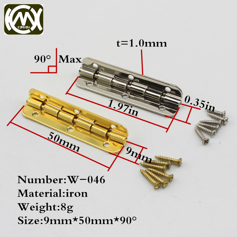 16pc 9*50mm Quality assurance Furniture connectors jewelry Gigt box hinges Wooden box light hinge with screw Fast shipping w-046