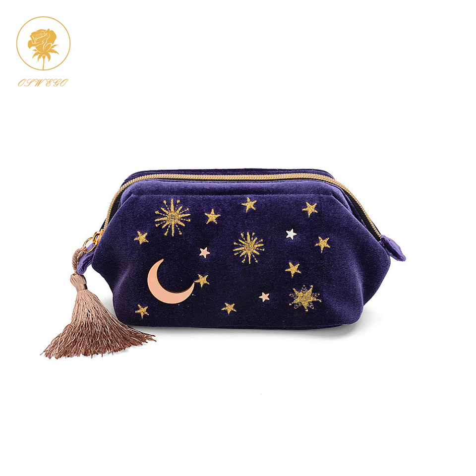 Oswego Makeup Bag Velvet Cosmetic Cases Small Tassel Embroidered Pouch Storage Bag Make Up Travel Organizer Cosmetics for Women