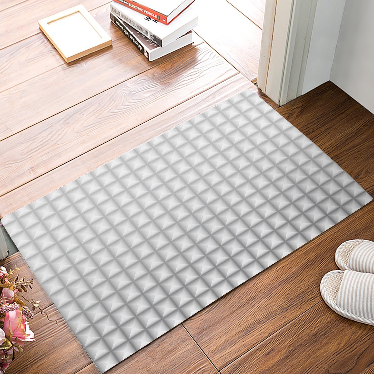 White Kitchen Floor Mats: Grey And White Gradient Square Grid Plaid Pattern Door