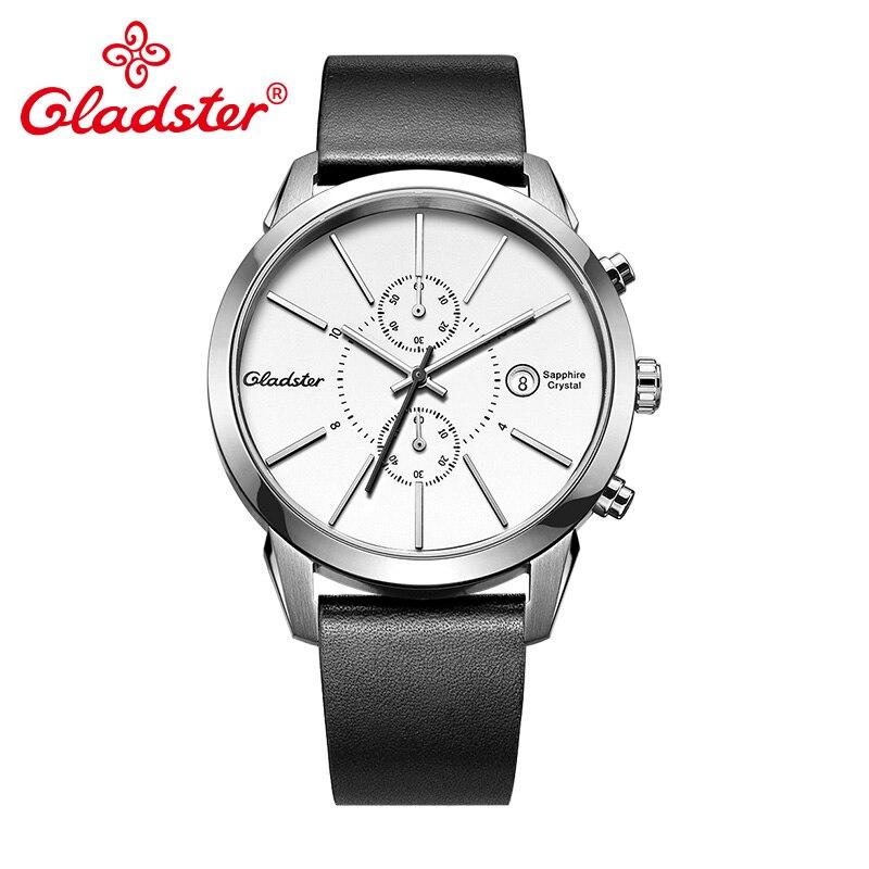 Gladster Japan MIYOTA OS11-3H Chronograph Calendar Watch Sapphire Crystal Leather Man Wristwatch Waterproof Male Quartz Watch