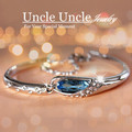White Gold Plated Fashion Design Glass Shoes Style Blue Crystal Lady Bracelet Bangle