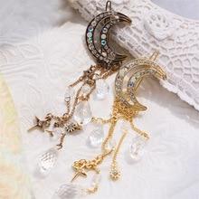 2016 Fashion Vintage Luxury Rhinestone Moon Crystal Drop Charms Hair Clips Hairgrip for Women Jewelry Accessories pinzas de pelo