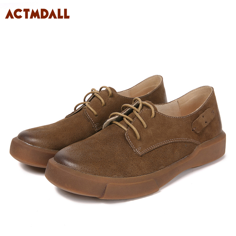 Comfortable Genuine Leather Flat Women Shoes Lace Up Round Head Female Flats Casual Women Leather Shoes Black Brown cresfimix zapatos women cute flat shoes lady spring and summer pu leather flats female casual soft comfortable slip on shoes