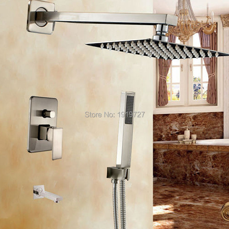 Bathroom 10 Inch Rainfall Shower Set Double Lever Handle Mixer Tub Trim Tap With Square Handheld Spray Wall Mount Shower System