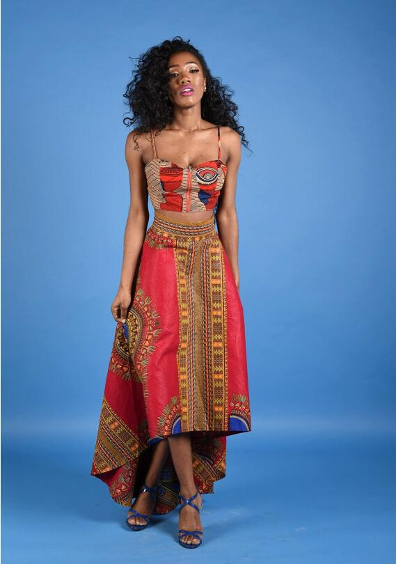 18b463bff06 New Ladies Fashion 2 PCs Set Strap Tube Top+ African Print High Low Long  Skirt Flared Skirt Maxi Skirt -in Skirts from Women s Clothing on  Aliexpress.com ...